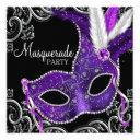elegant purple and black masquerade party invitation