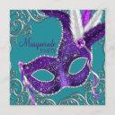 elegant purple and turquoise blue masquerade party invitation