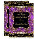 elegant purple damask black gold birthday party invitation