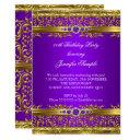 elegant purple gold damask diamond birthday invitations