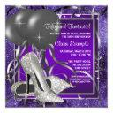 elegant purple high heels birthday party invitations