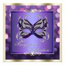 elegant purple shimmering lights bokeh masquerade invitations