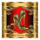 elegant red black and gold birthday party invitation