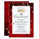 elegant red black gold crown floral quinceanera invitation
