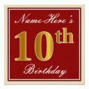elegant, red, faux gold 10th birthday; custom name invitation