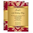 elegant red gold damask pearl birthday party invitations