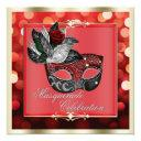 elegant red shimmering lights bokeh masquerade invitation