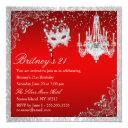 elegant red & silver masquerade 21st invite