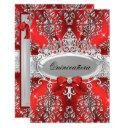 elegant red silver tiara damask quinceanera invite