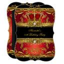 elegant regal red black gold queen birthday party invitations