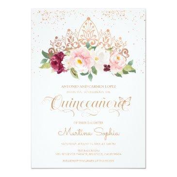 elegant rose gold butterfly & tiara quinceanera invitation
