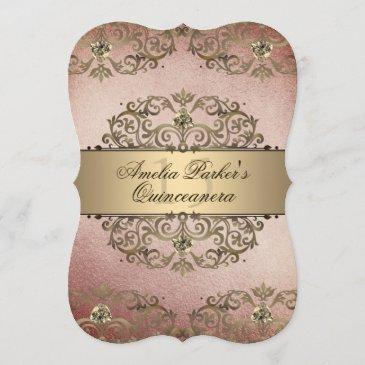 elegant rose gold vintage damask quinceanera invitation