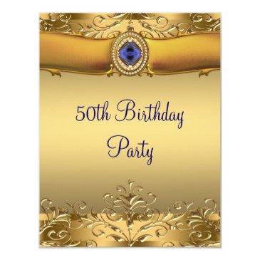 elegant royal blue and gold 50th birthday party invitation