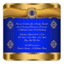 elegant royal blue and gold birthday invitation