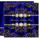 elegant royal blue & gold damask birthday party invitations