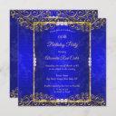 elegant royal blue gold white pearl birthday party invitation