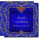elegant royal blue red gold birthday party invitation