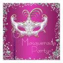 elegant silver confetti hot pink masquerade party invitation