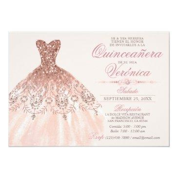 Small Elegant Spanish Quinceañera Mis Quince Pink Rose Invitation Front View
