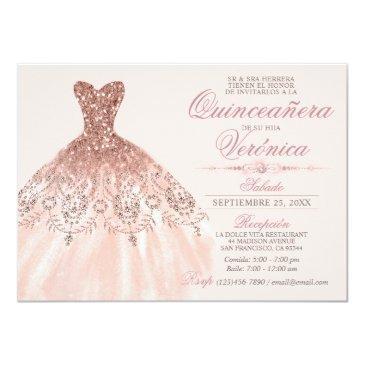 elegant spanish quinceañera mis quince pink rose invitation