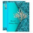 elegant teal blue aqua glitter birthday party invitation