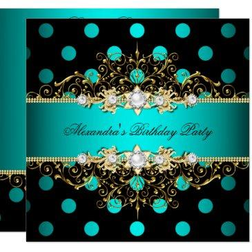 elegant teal gold black polka dots birthday party invitation