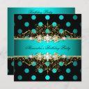 elegant teal gold black polka dots birthday party invitation