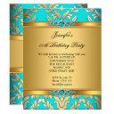 elegant teal gold damask pearl birthday party invitation