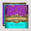 elegant teal purple gold damask birthday party invitation