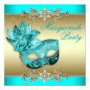 elegant turquoise blue masquerade party invitations