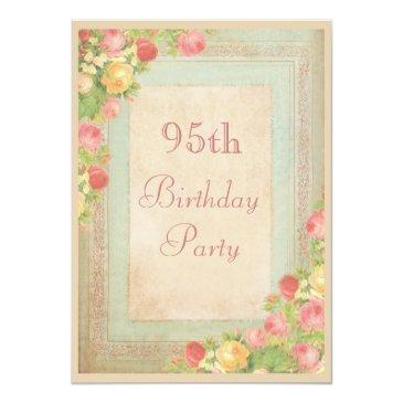 Small Elegant Vintage Roses 95th Birthday Party Invitations Front View