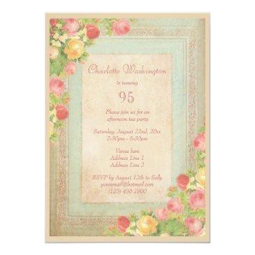 Small Elegant Vintage Roses 95th Birthday Party Invitations Back View