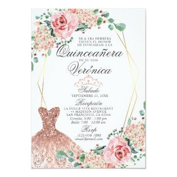 Small Elegant Watercolor Pink Spanish Quinceañera Quince Invitation Front View