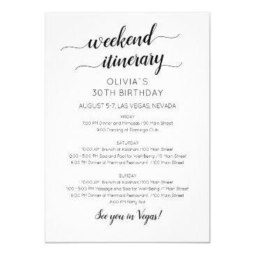 elegant weekend birthday itinerary invitation