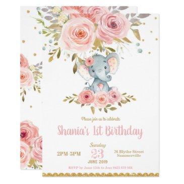 elephant 1st birthday invitations girl pink floral