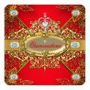 elite quinceanera regal red gold damask 15th party invitation