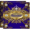 elite quinceanera royal blue gold damask 15th invitations