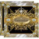 elite quinceanera silver gold black damask 15th invitations