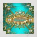 elite quinceanera teal blue gold damask 15th party invitation