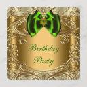 emerald green and gold birthday party invitation