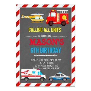 emergency vehicles transportation birthday invitations