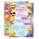 emoji birthday party invitations, girl emoji party invitation