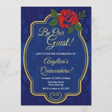 enchanted rose fairytale quinceañera invitation
