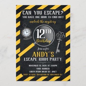 escape room birthday invitation