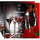 ethnic fabulous 60th birthday red roses martini invitation