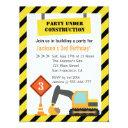 excavator construction theme kids birthday party invitation