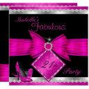 fabulous 21 hot pink black silver birthday party invitations