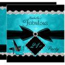 fabulous 21 teal black silver birthday party invitation