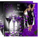 fabulous 30 30th birthday purple roses martini invitation