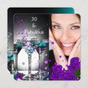 fabulous 30 birthday teal purple roses photo 4 invitation